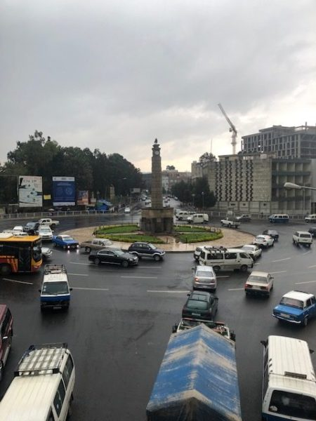 automobile traffic navigating the Victory Monument traffic circle
