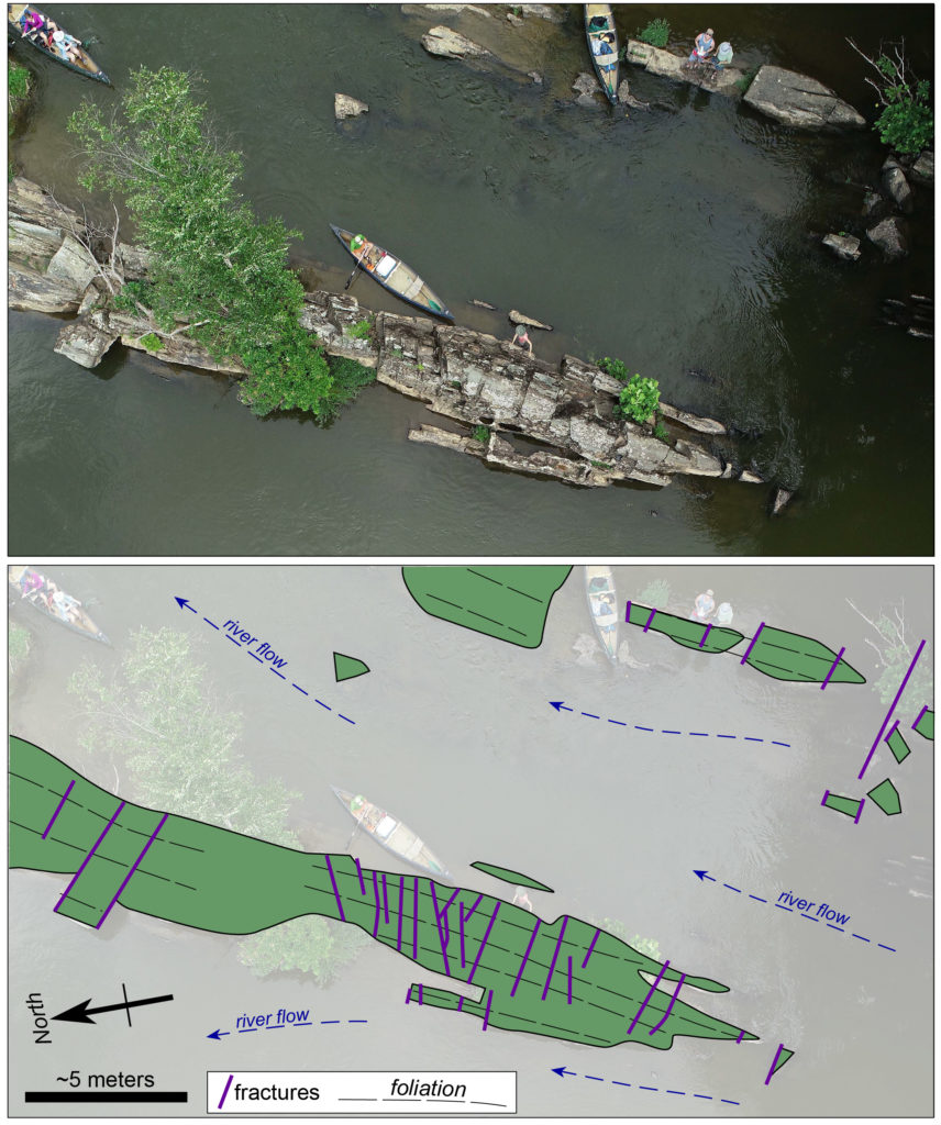 Two photos, both showing an outcrop of rock in the river with members of the team and their canoes in the water and standing on the outcrop.  One of the images is overlayed with lines and drawings to show the river flow and fractures and foliation in the outcrop.