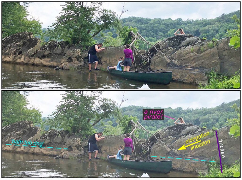 Two photos of members of the team standing and sitting in and near a canoe in front of an outcrop. The second photo is overlayed with lines and drawings to illustrate the elongation, lineation and fractures.