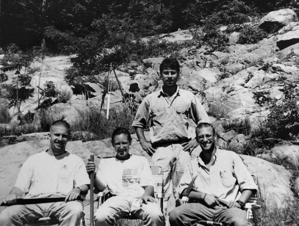 The Grenvillian Uberjocks in the Blue Ridge Mountains during the summer of 1999. W&M Geology students include (from left to right Nate Shotwell, Stephanie Mager, and Pete Berquist). Note the black and white photo.
