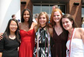 Five women celebrating high school graduation