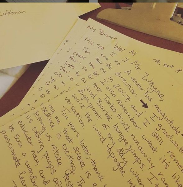 Handwritten letters to former teachers