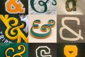 collage of 9 differently styled ampersands