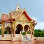 Wat building, or Buddhist temple, in Laos