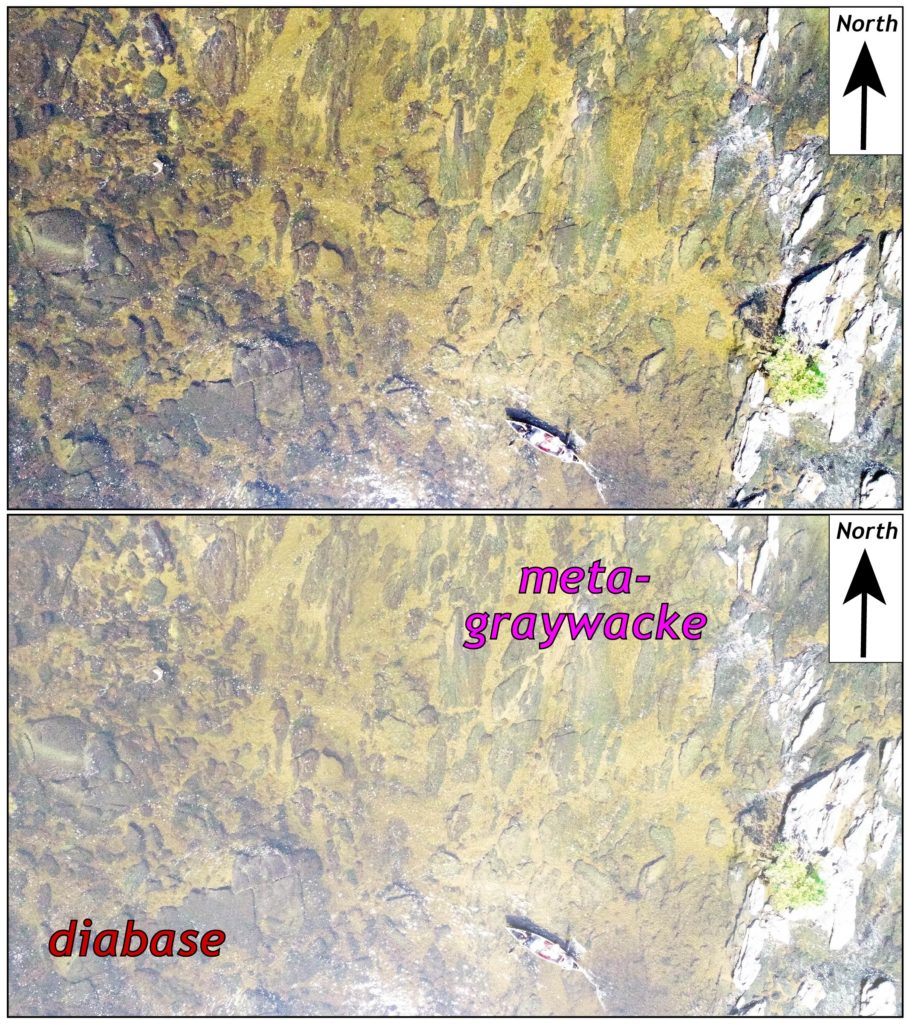 Two identical aerial photos for comparison. The bottom photo labels the metagraywacke and diabase areas.