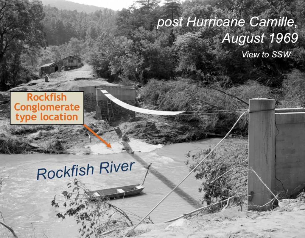 A post Camille image from the Rockfish River at the Rockfish Conglomerate's type location showing that only the bridge pilings remain.