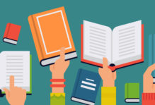 Illustration of raised arms holding open and closed books.