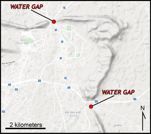 Two water gaps around Ibri, Oman indicated. One just east of As Sulaif, and the other approximately 5 kilometers north west.