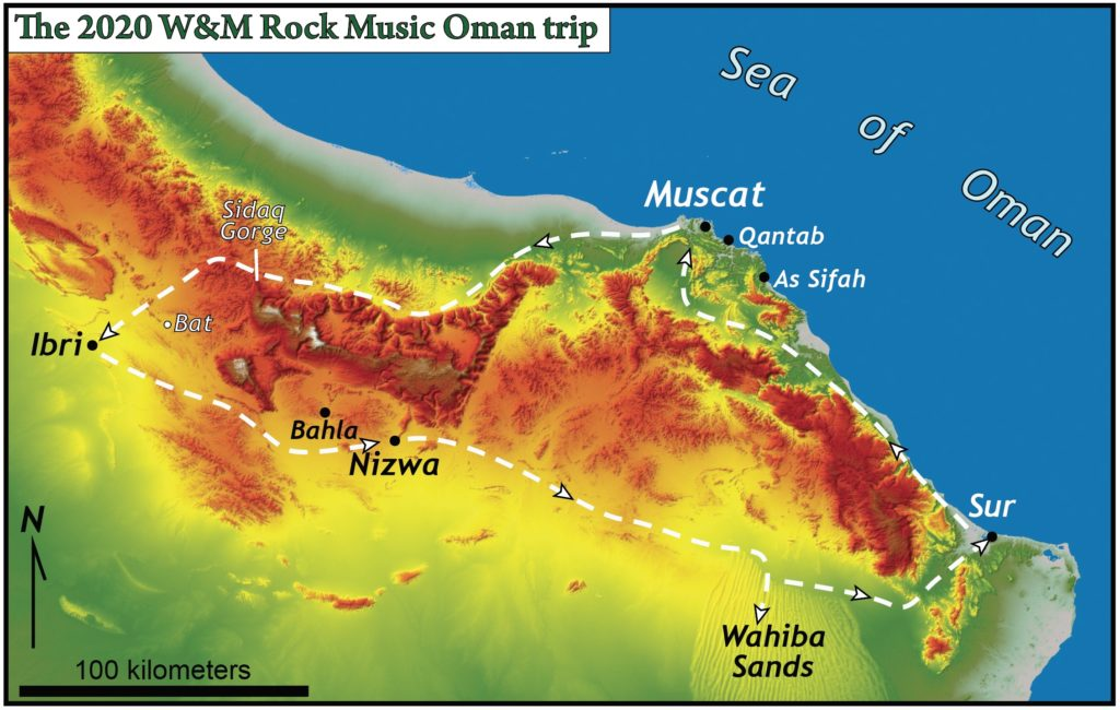 Shade relief map of northern Oman showing a route of Wahiba Sands to Sur to Muscat to Ibri to Nizwa and back to Wahiba Sands.