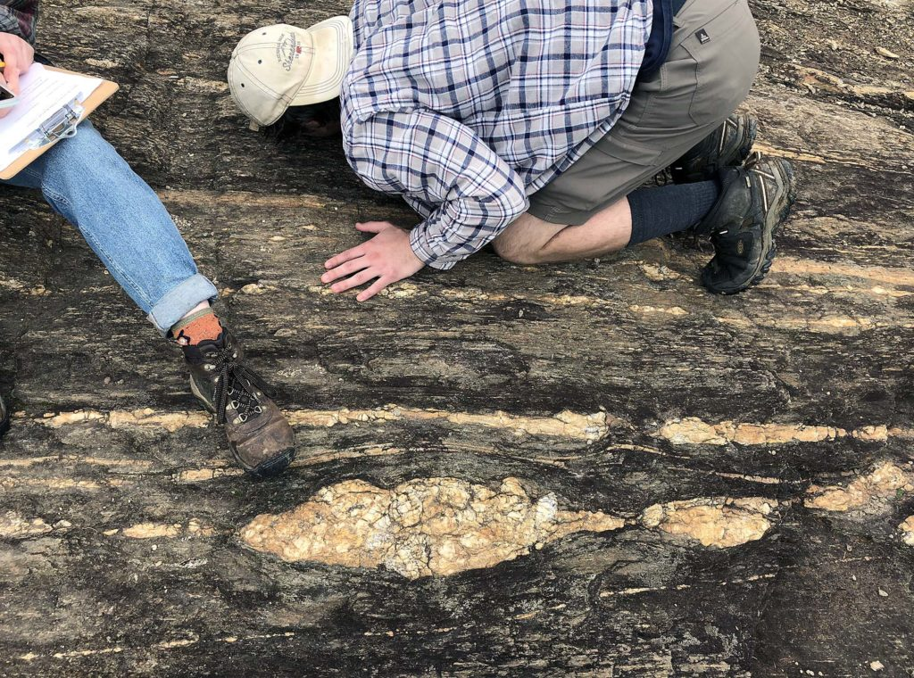 Large boudinaged pegmatite at Hidden Rock Park.