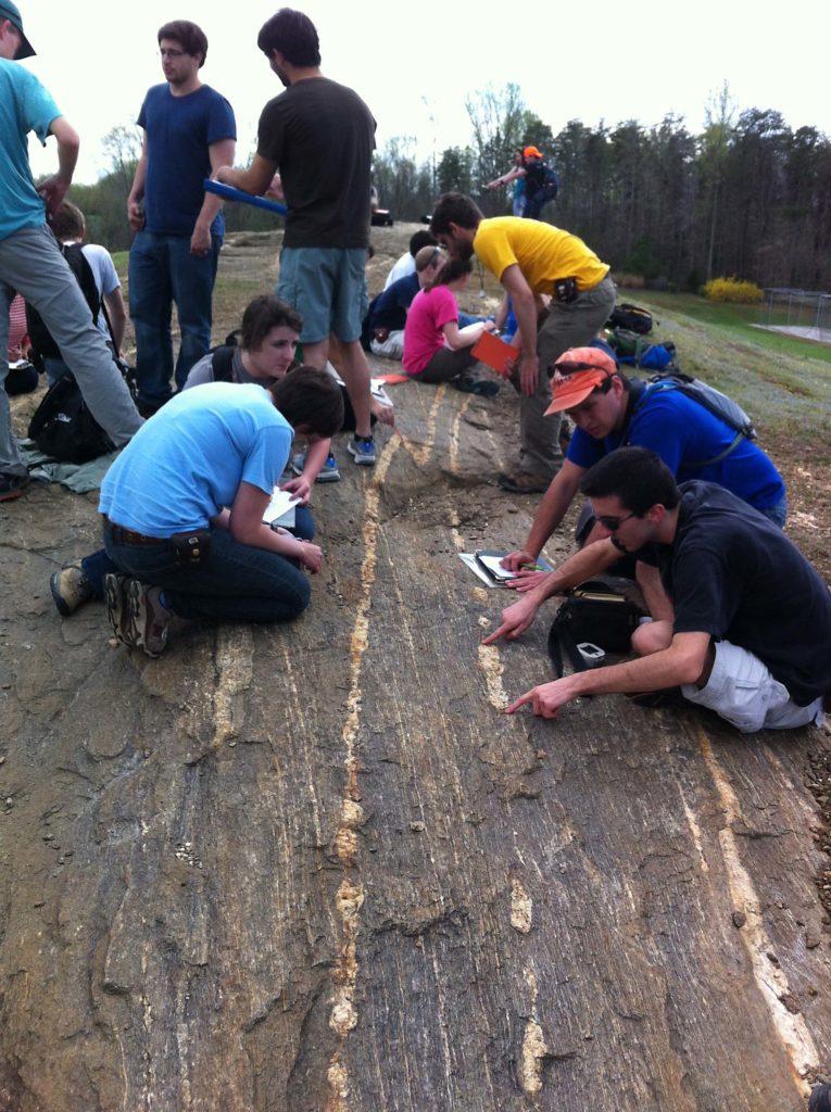 W&M students conducting strain analysis at Hidden Rock Park.
