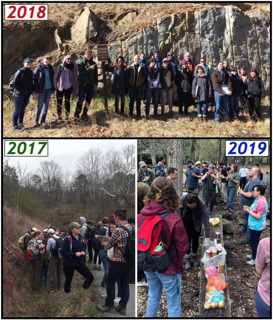 Montage of 3 field trip scenes
