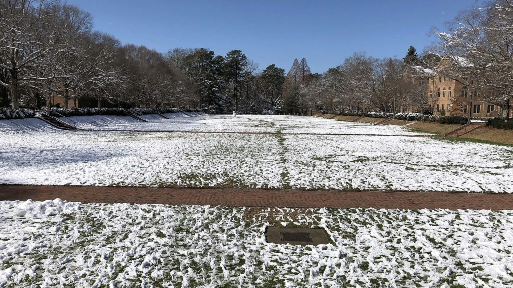 The Sunken Garden in snow.