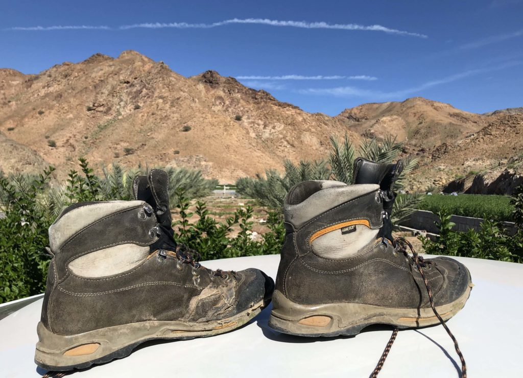 A picture of hiking boots in still life.