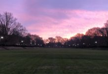 Sunrise over a wide, flat grassy area, sunken, with surrounding trees and academic buildings at William & Mary.