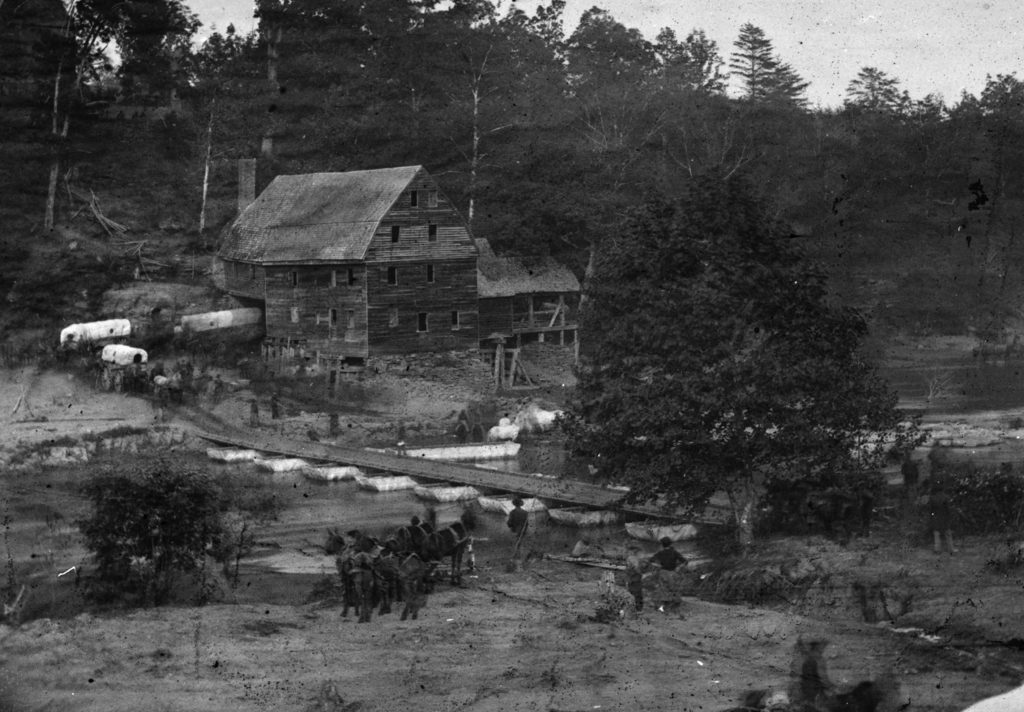 Old photograph of Jericho Mill from the Civil War.