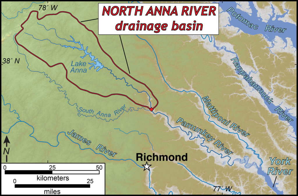 Map with a red outline of a roughly oval shaped outline of the drainage basin that is approximately 50 miles long and 20 miles wide at its widest point, located north-west of Richmond, Virginia.