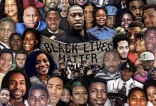 A collage of many faces and a banner that reads Black Lives Matter at the center.