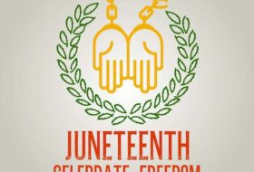 Logo from Cary's First Juneteenth Celebration in 2019. Two hands with broken chains attached with Juneteenth Celebrate Freedom.