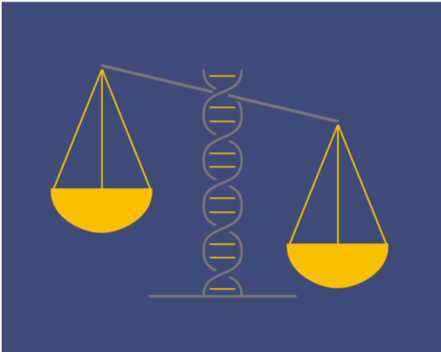 Illustration of a tipping scale, with a strand of DNA as the axis.