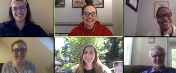 Grid of six smiling people on a Zoom call