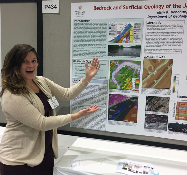 W&M geologist presenting a poster