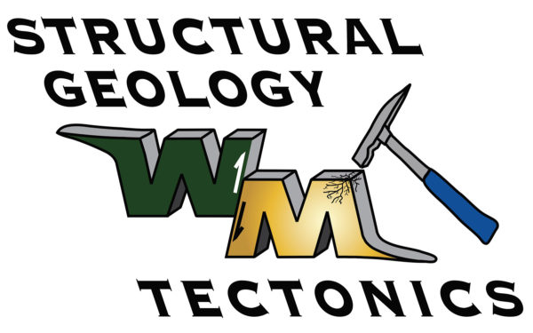 Structural Geology Tectonics text with a green and gold WM being tapped with a chisel hammer.