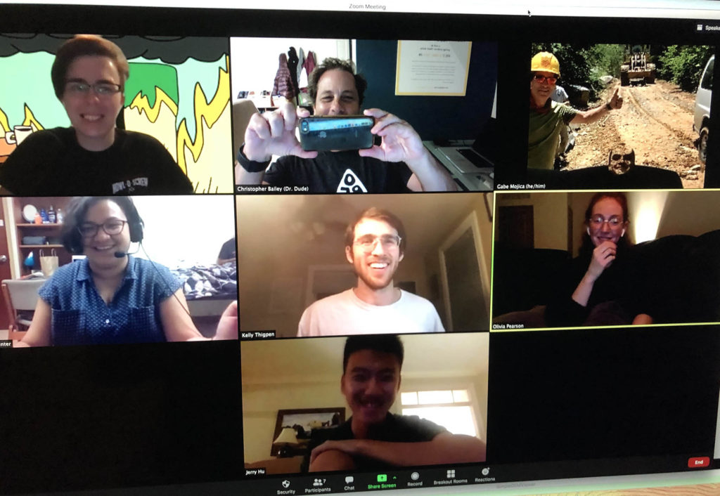 Six smiling W&M students posing for a photo on a Zoom conference call for Professor Chuck Bailey.