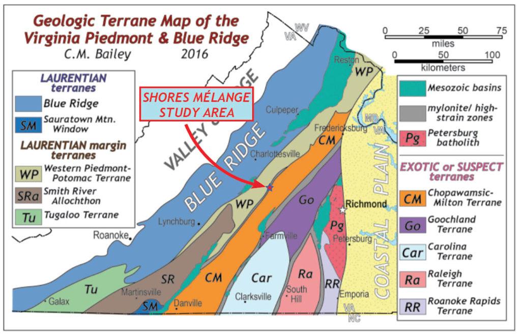 Geologic terrane map of Virginia.