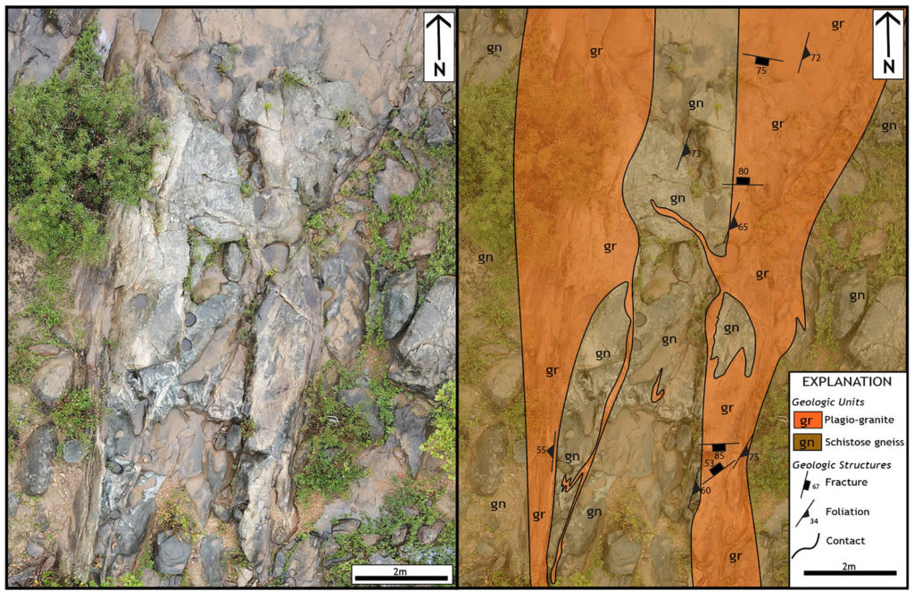Two images, one of drone image, second is geologic interpretation.