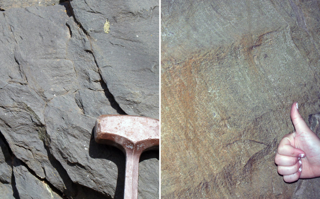 Pictures of rocks in the Catoctin Formation with a hammer and hand for scale.