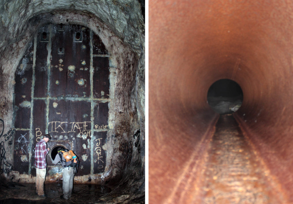 Barriers inside the Blue Ridge Tunnel. Left image shows spray paint graffiti on the concrete bulkhead wall and a pipe entering the wall near the bottom, appears narrow and just big enough for a person.