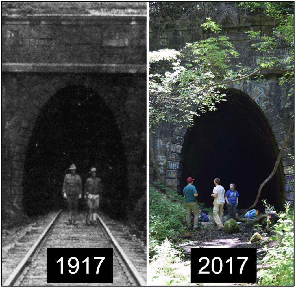 Two photos of the Blue Ridge Tunnel's West Portal, each with 2-3 people in front. There are tree limbs and foliage in the 2017 photo that are not in the 1917 photo at the same spot.