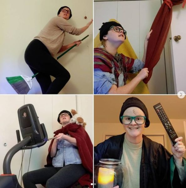 four images of woman dressed as Harry Potter in makeshift costumes