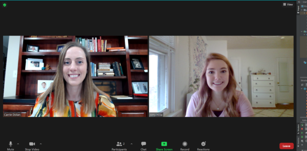 Zoom screenshot with one smiling person on each of two screens.