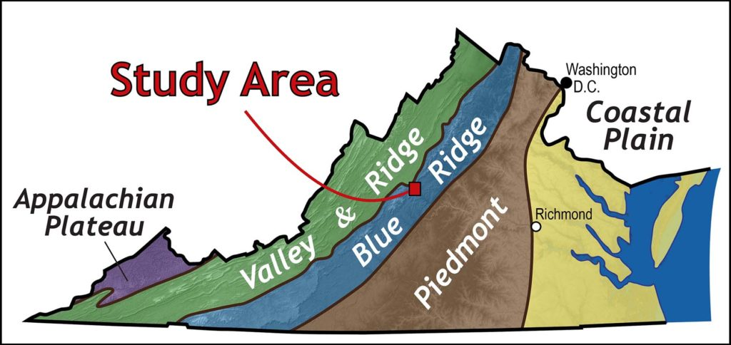 Map of Virginia showing study area and geologic provinces. From left to right: Appalachian Plateau, Valley & Ridge, Blue Ridge, Piedmont and Coastal Plain.