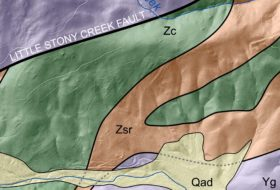 Geologic map of my study area in central Virginia showing Geologic Units of Surficial Deposits, Catoctin Formation, Swift Run Formation and Blue Ridge Basement