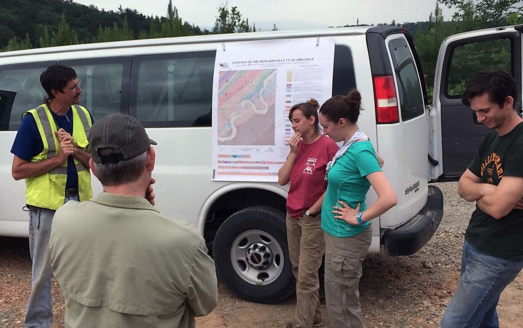 W&M geologists by the Geology van at a field review.