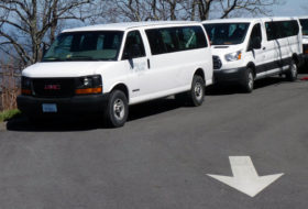 Geology van in a parking lot