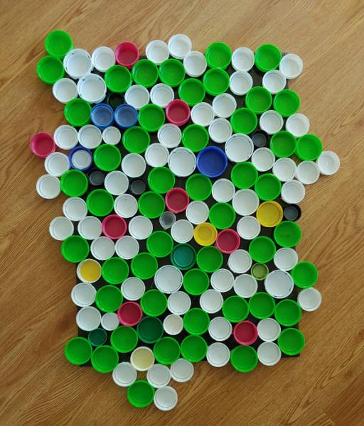 collage of plastic bottle caps