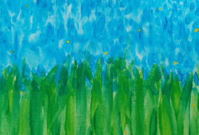painting of green tall grass in front of blue sky