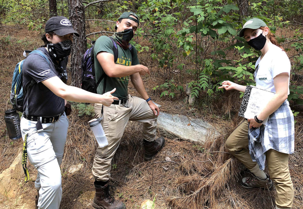 Three masked W&M student geologists pointing at a small outcrop in a wooded area.