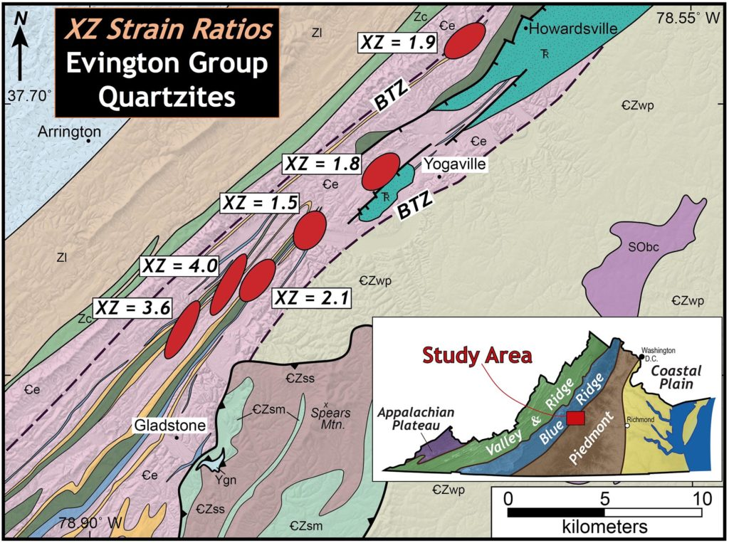 Regional geological map with strain data plotted, illustrating the location on the border of the Blue Ridge and Piedmont regions. The XZ strain ratios range from 1.5 to 4.0.