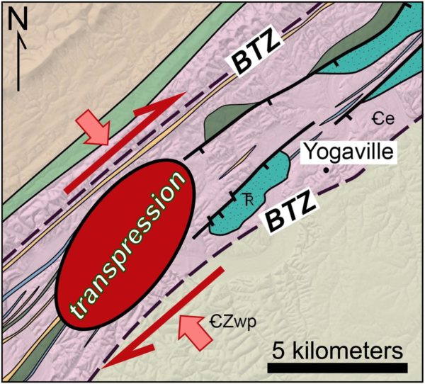 A close-up geologic map of the Buckmarlson Transition Zone (BTZ).