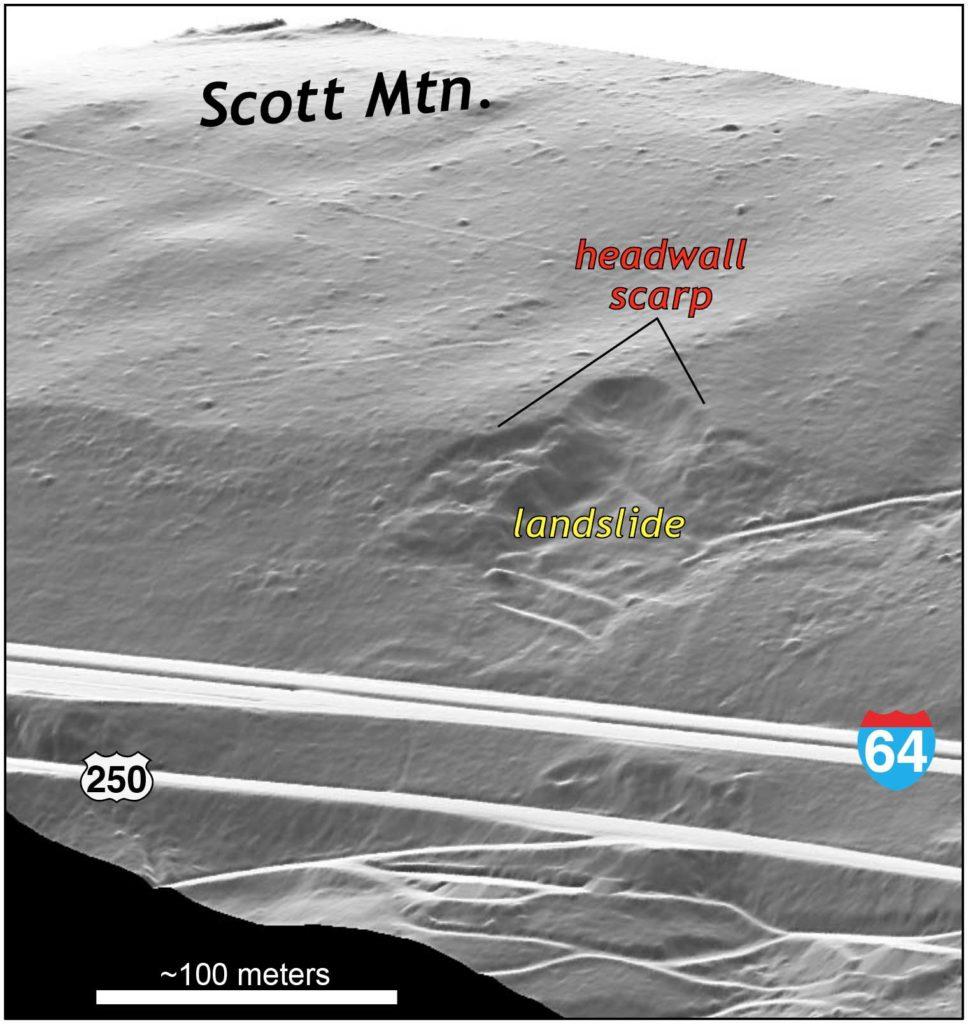 Terrain map showing an old landslide.