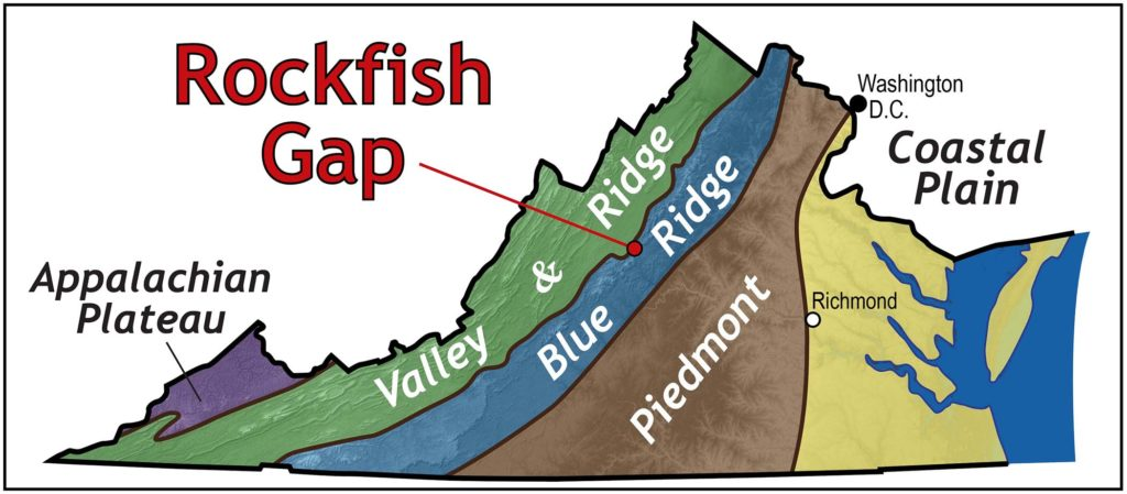 Map of Virginia illustrating regions. From west to east: Appalachian Plateau, Valley & Ridge, Blue Ridge, Piedmont and Coastal Plain, with Rockfish Gap on the border of the Valley & Ridge and Blue Ridge regions.
