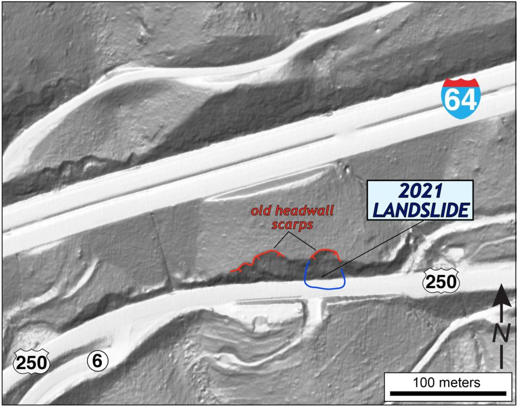 Detailed map of landslide site.