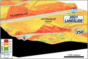 Oblique digital view (to the northeast) of the terrain at the 2021 landslide site, the colors are based on the land slope. The steepest terrain in this image are primarily highway cuts into bedrock.