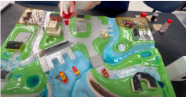 A plastic, three dimensional table top board with waterways and land areas. Someone is squirting water onto the display to mimic rain fall.