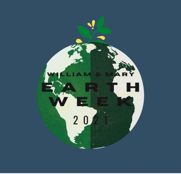 """Teal background with image of the Earth overlaid. Green plant sprouting from Earth. Text says """"William & Mary Earth Week 2021"""" on image."""